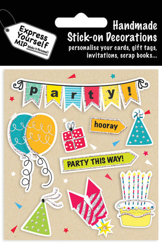 Party,Bunting,&,Icons,Craft, MIP, DIY, Handmade, Toppers, Personalise, Stick On Decoration, Party Bunting, Party Icons, Celebration, Baloons, Present, Candels, Cake