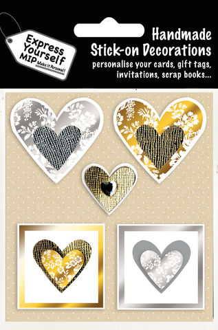 Gold,&,Silver,Hearts,Craft, MIP, DIY, Handmade, Toppers, Personalise, Stick On Decoration, Gold, Silver Hearts, Love