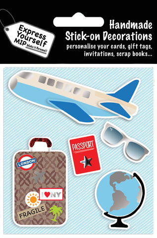 Air,Travel,Items,Craft, MIP, DIY, Handmade, Toppers, Personalise, Stick On Decoration, Air Travel , Globe, Sunglasses, Plane, Baggage
