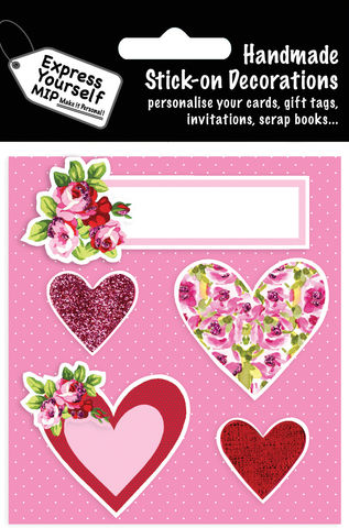 Pink,&,Floral,Hearts,Caption,Craft, MIP, DIY, Handmade, Toppers, Personalise, Stick On Decoration, Pink, Floral Hearts, Caption, Love, Banner, Flowers