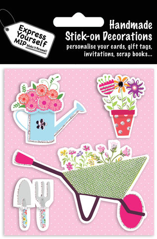 Wheelbarrow,&,Flowers,Craft, MIP, DIY, Handmade, Toppers, Personalise, Stick On Decoration, Wheelbarrow, Flowers, Gardening