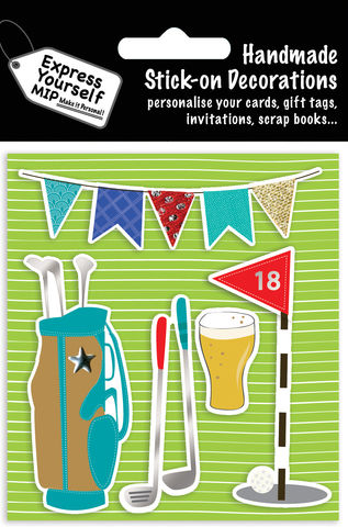 Golfing,&,Bunting,Craft, MIP, DIY, Handmade, Toppers, Personalise, Stick On Decoration, Golfing, Bunting, Beer, Game, Sport