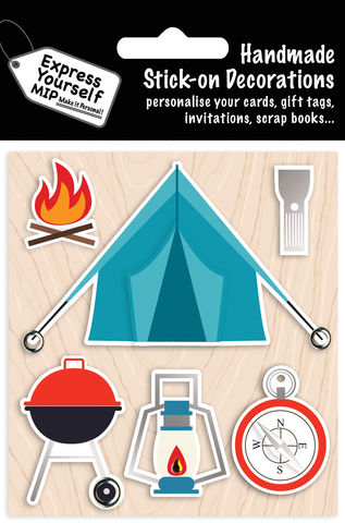 Camping,Items,Craft, MIP, DIY, Handmade, Toppers, Personalise, Stick On Decoration, Camping, Fire, Torch, Compass, Barbecue, Tent