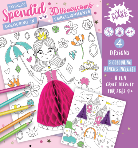 Get,Set,Make,-,(Totally,Splendid,Pack,Colouring,In,With,Honeycomb,Embellishments),Princess,,Castle,,Ballerina,,Sausage,Dogs,Craft, MIP, DIY, Handmade, Personalise, Stick On Decoration, Get Set Make ,Fun Craft Activity, Honeycomb Embellishments, Princess, Castle, Ballerina, Sausage dogs, Kids