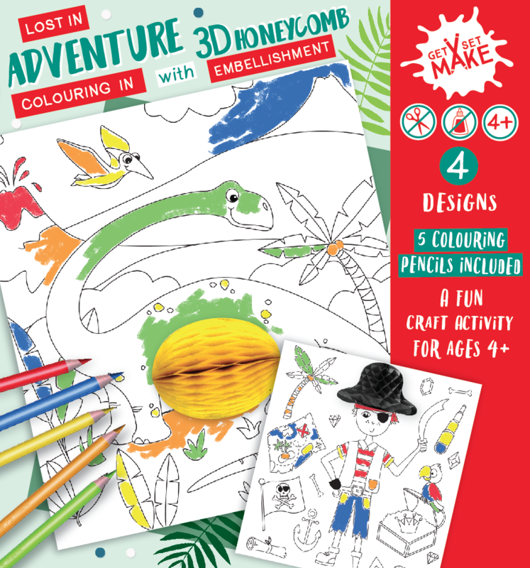 Get Set Make - (Lost In Adventure - Colouring In With Honeycomb Embellishments) Dinosaurs, Pirate, Underwater - product images  of