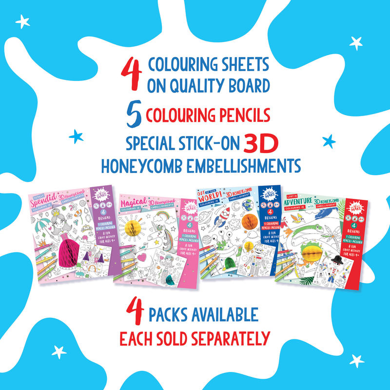 Get Set Make - (Totally Splendid Pack - Colouring In With Honeycomb Embellishments)  Princess, Castle, Ballerina, Sausage Dogs - product images  of