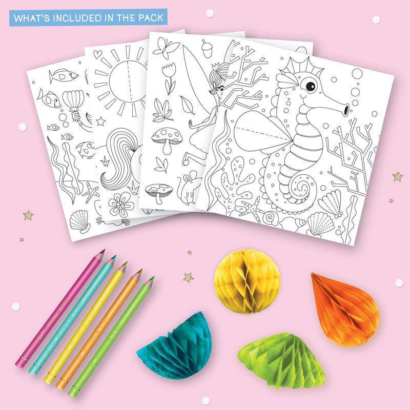 Get Set Make - (Magical Pack - Colouring In With Honeycomb Embellishments) Mermaid, Unicorn, Fairy, Seahorse - product images  of