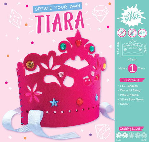 Get,Set,Make,-,Tiara,Felt,(Pink),Craft, MIP, DIY, Handmade, Personalise, Stick On Decoration, Get Set Make , Fun Craft Activity, Tiara, Felt, Pink, Princess