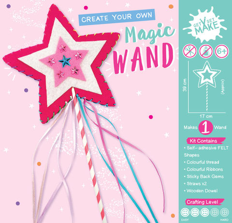 Get,Set,Make,-,Magic,Wand,Felt,(Pink),Craft, MIP, DIY, Handmade, Personalise, Stick On Decoration, Get Set Make , Fun Craft Activiy, Wand, Felt, Magic, Pink