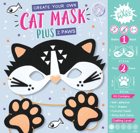 Get,Set,Make,-,Cat,Mask,Felt,Craft, MIP, DIY, Handmade, Personalise, Stick On Decoration, Get Set Make , Fun Craft Activiy, Cat, Mask, Felt