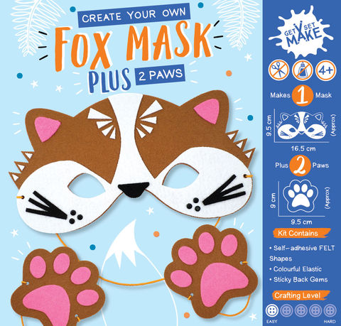 Get,Set,Make,-,Fox,Mask,Felt,Craft, MIP, DIY, Handmade, Personalise, Stick On Decoration, Get Set Make , Fun Craft Activiy, Fox, Mask, Felt