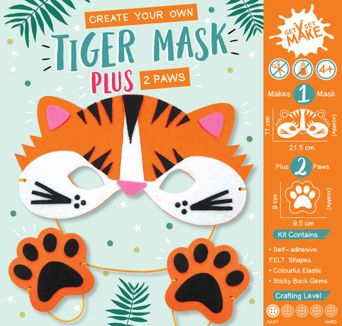 Get,Set,Make,-,Tiger,Mask,Felt,Craft, MIP, DIY, Handmade, Personalise, Stick On Decoration, Get Set Make , Fun Craft Activiy, Fox, Mask, Felt