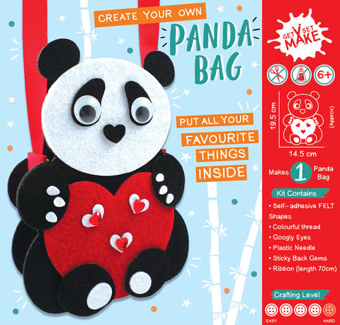 Get,Set,Make,-,Panda,Bag,Felt,Craft, MIP, DIY, Handmade, Personalise, Stick On Decoration, Get Set Make , Fun Craft Activiy, Panda, Bag, Felt