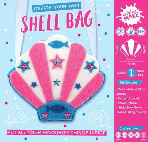 Get,Set,Make,-,Shell,Bag,Felt,Craft, MIP, DIY, Handmade, Personalise, Stick On Decoration, Get Set Make , Fun Craft Activiy, Shell, Bag, Felt