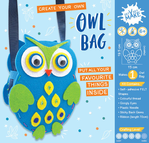 Get,Set,Make,-,Owl,Bag,Felt,Craft, MIP, DIY, Handmade, Personalise, Stick On Decoration, Get Set Make , Fun Craft Activiy, Owl, Bag, Felt