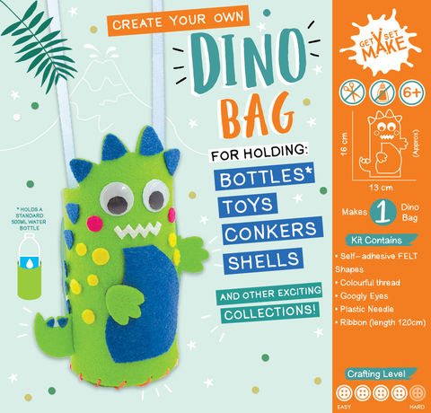 Get,Set,Make,-,Dino,Bag,Felt,Craft, MIP, DIY, Handmade, Personalise, Stick On Decoration, Get Set Make , Fun Craft Activiy, Dino, Bag, Felt