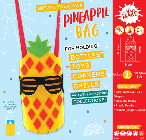 Get,Set,Make,-,Pineapple,Bottle,Bag,Felt,Craft, MIP, DIY, Handmade, Personalise, Stick On Decoration, Get Set Make , Fun Craft Activiy, PIneapple Bottle, Bag, Felt