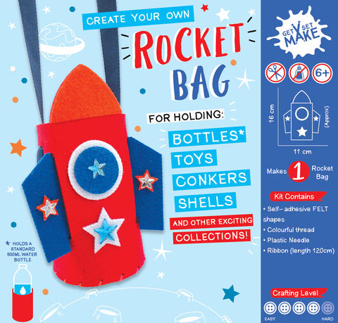 Get,Set,Make,-,Rocket,Bottle,Bag,Felt,Craft, MIP, DIY, Handmade, Personalise, Stick On Decoration, Get Set Make , Fun Craft Activiy, Rocket Bottle, Bag, Felt