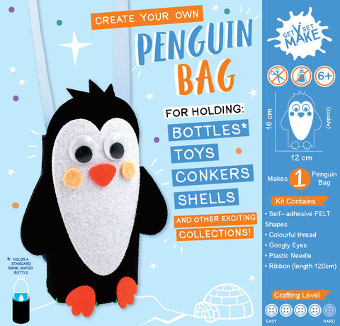 Get,Set,Make,-,Penguin,Bottle,Bag,Felt,Craft, MIP, DIY, Handmade, Personalise, Stick On Decoration, Get Set Make , Fun Craft Activiy, Penguin Bottle, Bag, Felt