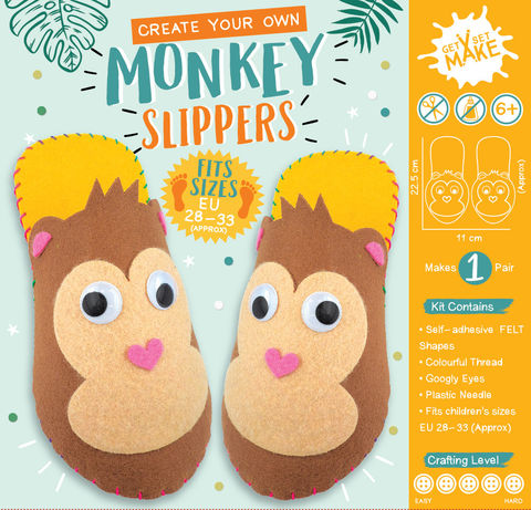 Get,Set,Make,-,Monkey,Sleepers,Craft, MIP, DIY, Handmade, Personalise, Stick On Decoration, Get Set Make , Fun Craft Activiy, Monkey Sleepers, Felt