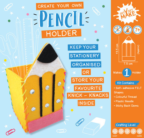 Get,Set,Make,-,Pencil,Holder,Felt,Craft, MIP, DIY, Handmade, Personalise, Stick On Decoration, Get Set Make , Fun Craft Activiy, Pencil Holder, Felt
