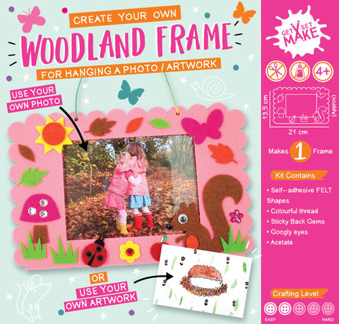 Get,Set,Make,-,Woodland,Frame,Felt,Craft, MIP, DIY, Handmade, Personalise, Stick On Decoration, Get Set Make , Fun Craft Activiy, Woodland Frame, Felt