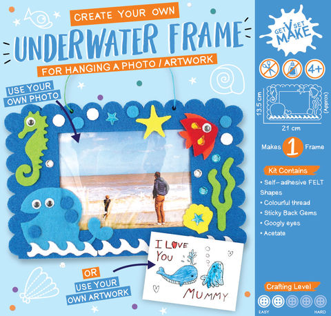 Get,Set,Make,-,Underwater,Frame,Felt,Craft, MIP, DIY, Handmade, Personalise, Stick On Decoration, Get Set Make , Fun Craft Activiy, Underwater Frame, Felt