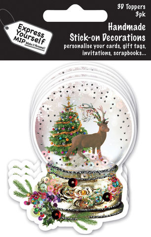 Xmas,Mini,Multi,Pack,Toppers,-,Snow,Globe,With,Deer,&,Tree,Craft, MIP, DIY, Christmas, Christmas decorations, handmade, Toppers, Personalise, Mini Multipack Toppers, Stick n Decoration, Scrapbooks, 3 pack, 3D, Snow Globe With Deer & Tree