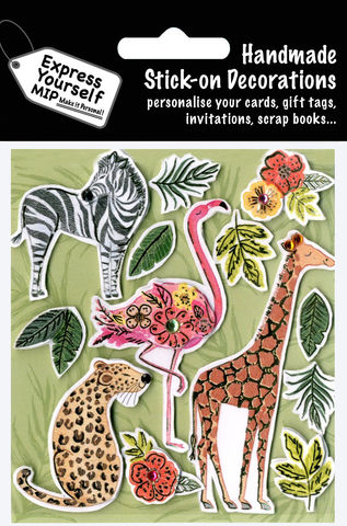 Safari,Animals,-,Giraffe,,Tiger,,Zebra,,Flamingo,Craft, MIP, DIY, Handmade, Toppers, Personalise, Stick On Decoration,  Safar,i Animals, Giraffe, Tiger, Zebra, Flamingo
