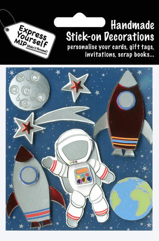 Space,Rocket,Craft, MIP, DIY, Handmade, Toppers, Personalise, Stick On Decoration, Space Rocket