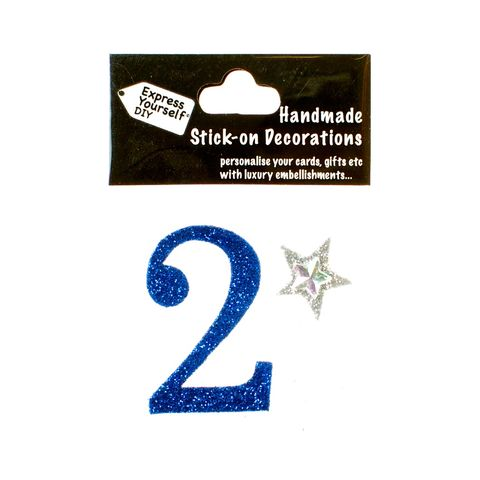 Handmade,stick,on,numbers,-,Mini,Blue,Number,2,stick-on numbers, craft, handmade, glitter, Blue glitter