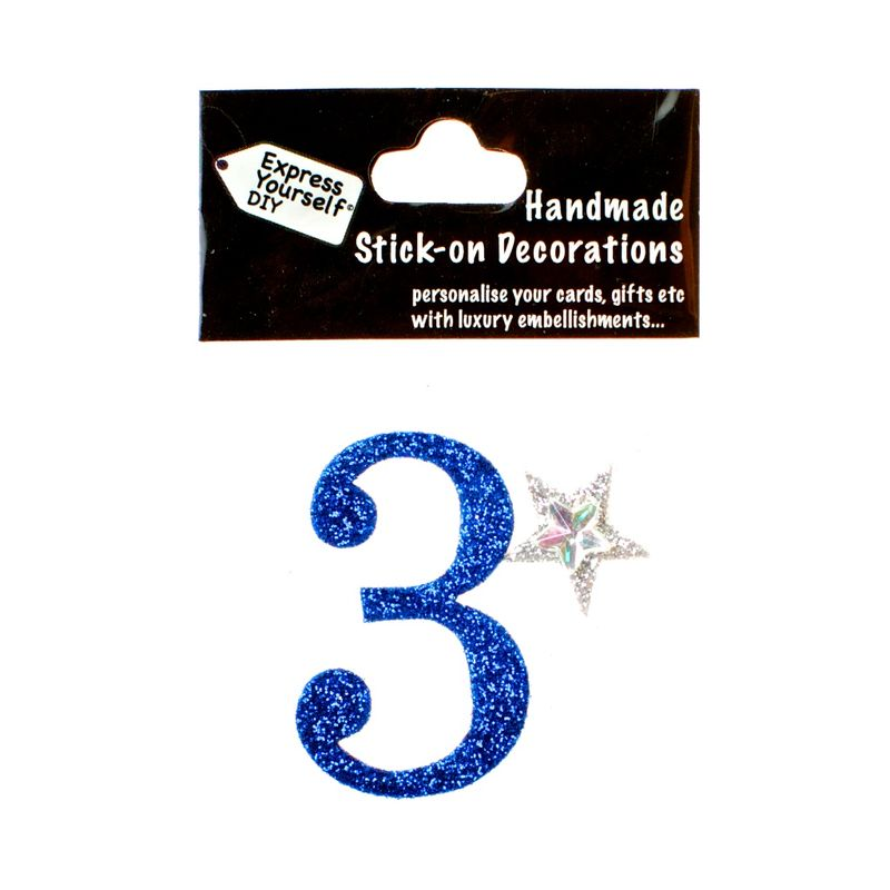 Handmade stick on numbers - Mini Blue Number 3 - product images