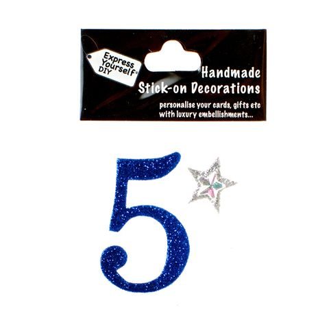 Handmade,stick,on,numbers,-,Mini,Blue,Number,5,stick-on numbers, craft, handmade, glitter, Blue glitter