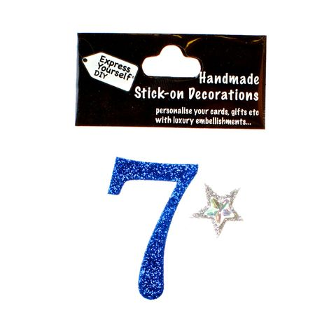 Handmade,stick,on,numbers,-,Mini,Blue,Number,7,stick-on numbers, craft, handmade, glitter, Blue glitter
