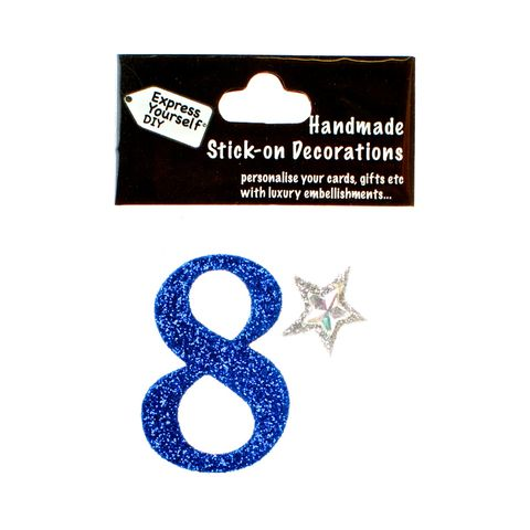 Handmade,stick,on,numbers,-,Mini,Blue,Number,8,stick-on numbers, craft, handmade, glitter, Blue glitter