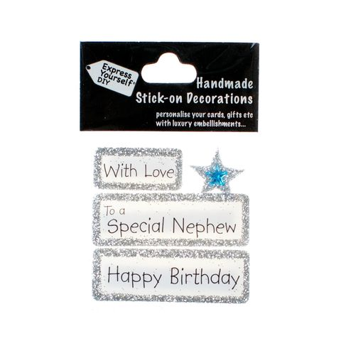 Handmade,stick,on,Captions,-,Special,Nephew,stick-on captions, craft, handmade, glitter, silver glitter,Star