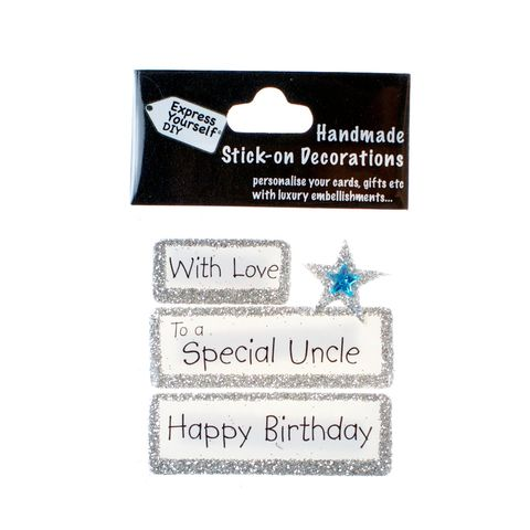 Handmade,stick,on,Captions,-,Special,Uncle,stick-on captions, craft, handmade, glitter, silver glitter,Star