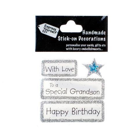 Handmade,stick,on,Captions,-,Special,Grandson,stick-on captions, craft, handmade, glitter, silver glitter,Star