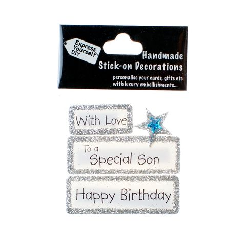 Handmade,stick,on,Captions,-,Special,Son,stick-on captions, craft, handmade, glitter, silver glitter,Star