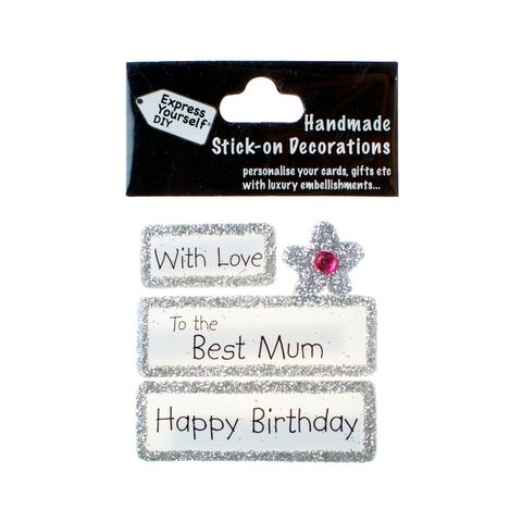 Handmade,stick,on,Captions,-,Best,Mum,stick-on captions, craft, handmade, glitter, silver glitter,Flower