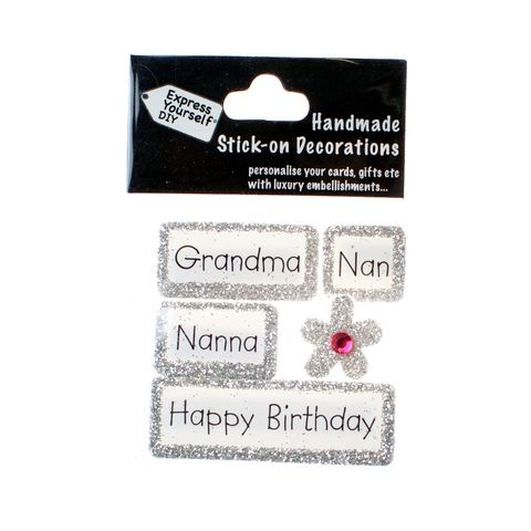 Handmade,stick,on,Captions,-,Grandma/Nan,stick-on captions, craft, handmade, glitter, silver glitter,flower