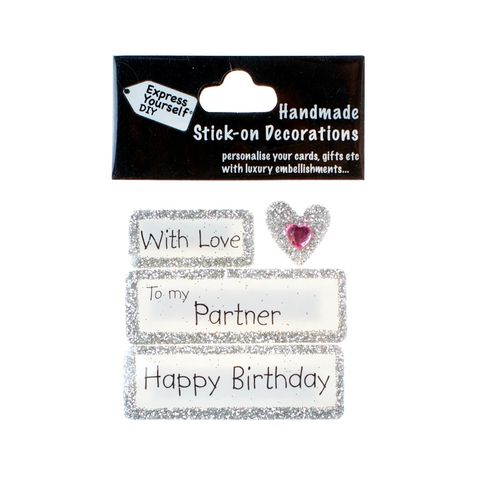 Handmade,stick,on,Captions,-,My,Partner,stick-on captions, craft, handmade, glitter, silver glitter,heart