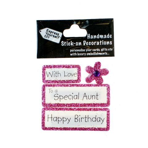 Handmade,stick,on,Captions,-,Special,Aunt,stick-on captions, craft, handmade, glitter, Pink glitter,Flower