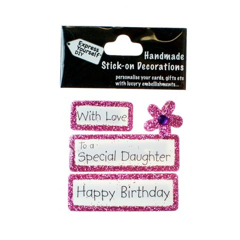 Handmade,stick,on,Captions,-,Special,Daughter,stick-on captions, craft, handmade, glitter, Pink glitter,Flower