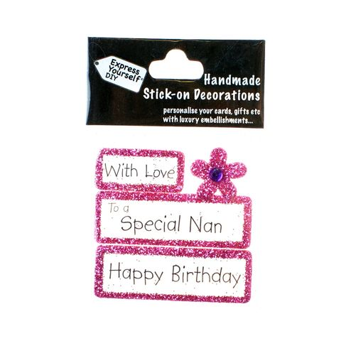 Handmade,stick,on,Captions,-,Special,Nan,stick-on captions, craft, handmade, glitter, Pink glitter,Flower