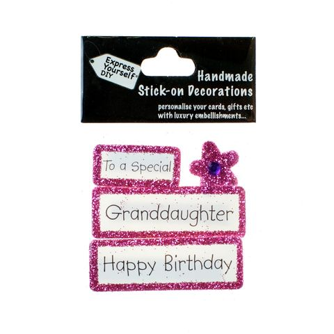 Handmade,stick,on,Captions,-,Special,Granddaughter,stick-on captions, craft, handmade, glitter, Pink glitter,Flower