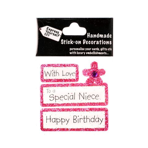 Handmade,stick,on,Captions,-,Special,Niece,stick-on captions, craft, handmade, glitter, Pink glitter,Flower