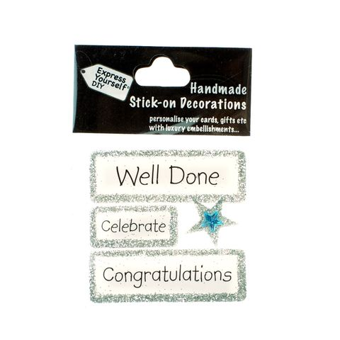 Handmade,stick,on,Captions,-,Well,Done,stick-on captions, craft, handmade, glitter, Silver glitter,Star