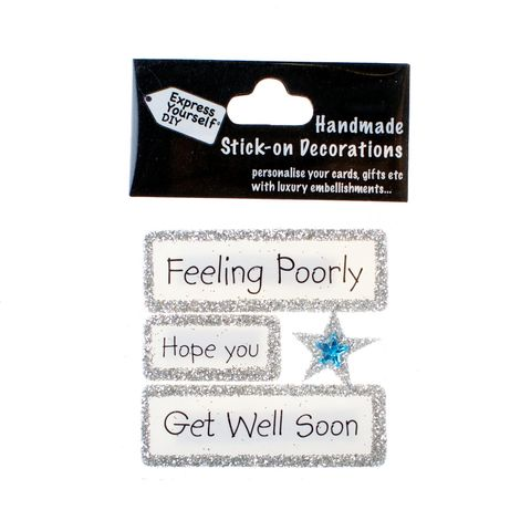 Handmade,stick,on,Captions,-,Get,Well,stick-on captions, craft, handmade, glitter, Silver glitter,Star