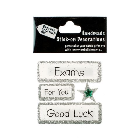 Handmade,stick,on,Captions,-,Exams,stick-on captions, craft, handmade, glitter, Silver glitter,Star